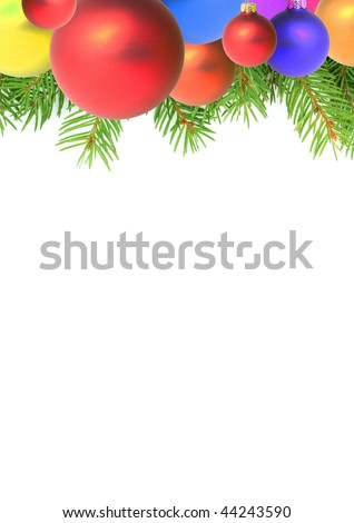 Branches with a Christmas toy on a white background - stock photo