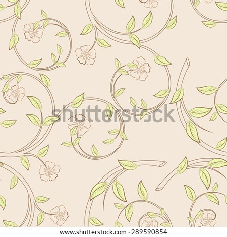Branches with flowers and green leaves seamless pattern.  - stock photo