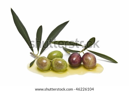 Branches with olives and oil.
