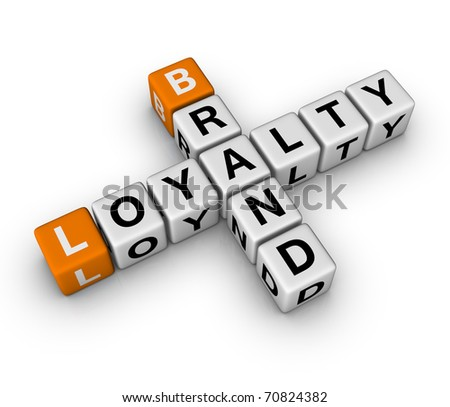 brand and customer loyalty (3D crossword orange series) - stock photo