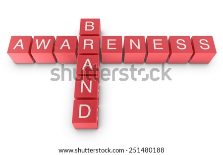 Brand Awareness Crossword Puzzle, 3D Illustration - stock photo