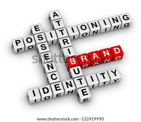 brand buiding crossword puzzle - stock photo