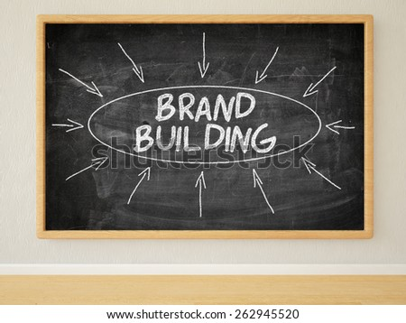 Brand Building - 3d render illustration of text on black chalkboard in a room. - stock photo