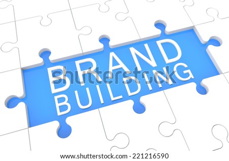 Brand Building - puzzle 3d render illustration with word on blue background - stock photo