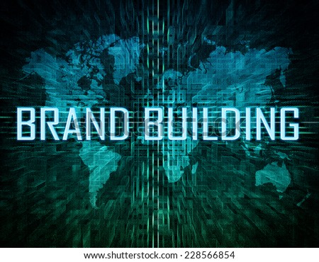 Brand Building text concept on green digital world map background  - stock photo