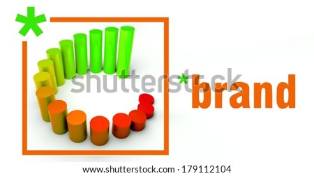 Brand business concept, rising graph chart - stock photo