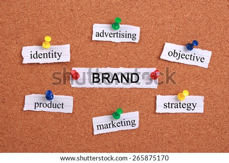 Brand concept paper words are pinned on cork. - stock photo