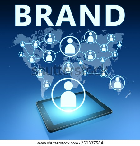 Brand illustration with tablet computer on blue background - stock photo
