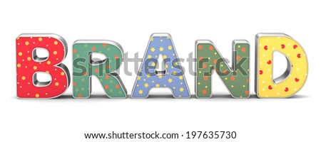 brand lettering on a white background - stock photo