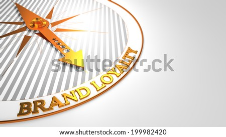 Brand Loyalty Concept - Golden Compass Needle on a White Field Pointing. - stock photo
