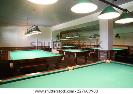brand new and modern billiard interior in night time