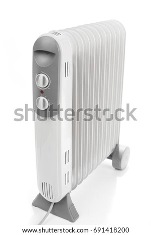 brand new and modern heater on white background
