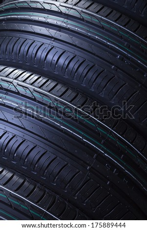 Brand new car tires texture closeup