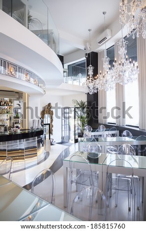 brand new decoration in cafe - stock photo