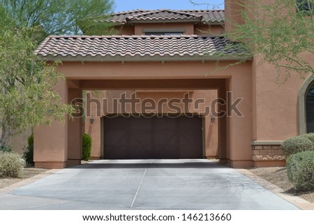 Brand New Driveway Portico on a Luxury Home in Scottsdale, Arizona - stock photo