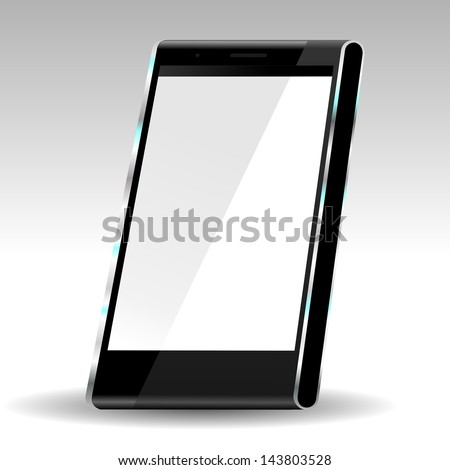 brand new future smartphone 6 release of all best selling top brand, perspective illustration with white empty screen - stock photo