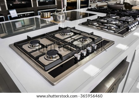 Brand new gas stoves - stock photo