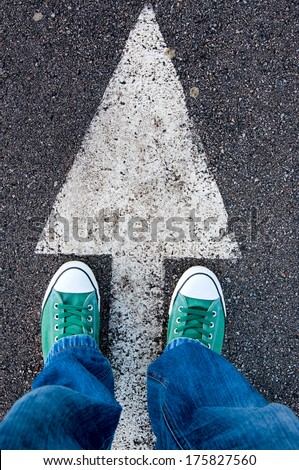 Brand new green shoes from above - stock photo
