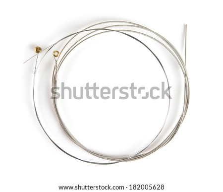 Brand new guitar string, isolated on white. Wound string and plain string. - stock photo