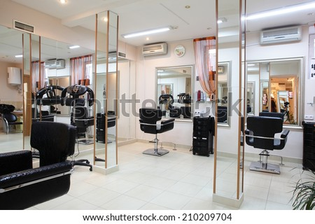 brand new interior of european beauty salon - stock photo
