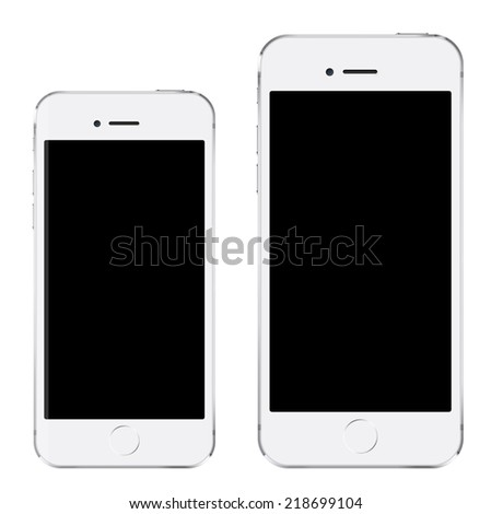 Brand new realistic mobile phone white smartphone in iphon style in two sizes, mockup with blank screen isolated on white background - stock photo