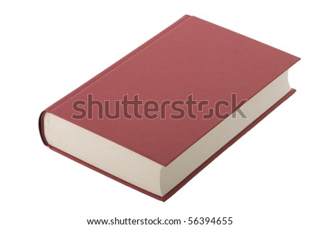 Brand new red hardcover book with blank cover - stock photo