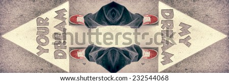Brand new red shoes from above standing on my and your dreams sign - stock photo