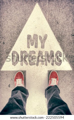 Brand new red shoes from above standing on my dreams sign - stock photo