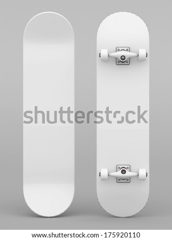 brand new skateboard, pictured on a gray background - stock photo