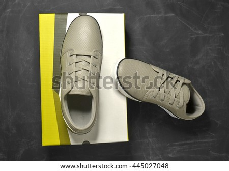 brand new sneakers with box - stock photo