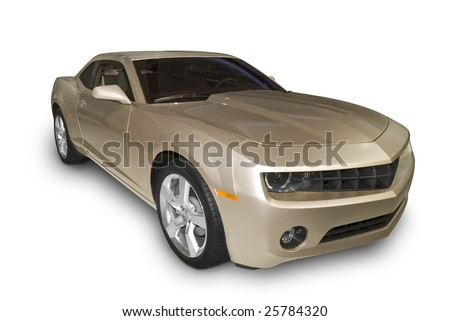 Brand new sports car isolated on a white background. A realistic shadow under the car is included. - stock photo