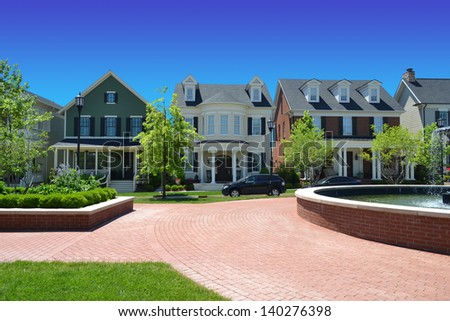 Brand New Suburban American New England Style Dream Home Neighborhood - stock photo