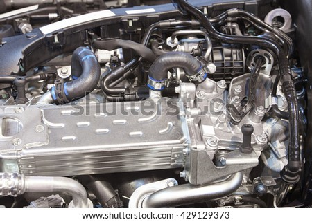 Brand new vehicle engine detail. Mechanic parts. Horizontal format