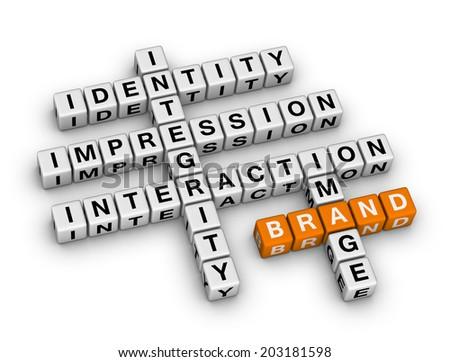 brand  (orange-white crossword series) - stock photo
