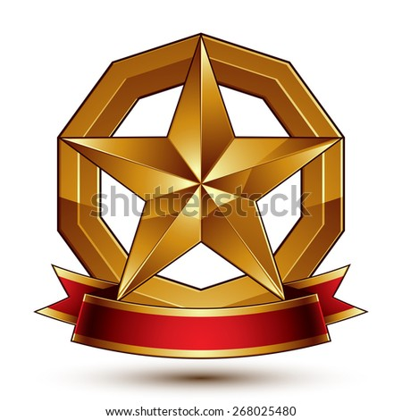 Branded golden symbol with stylized pentagonal glossy star and red decorative curvy ribbon, best for use in web and graphic design.Sophisticated gold ring isolated on white background.   - stock photo
