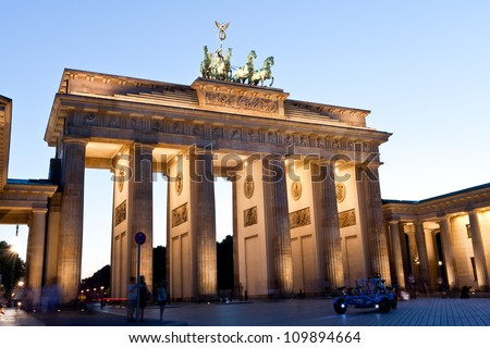 Brandenburg gate at night, Berlin - stock photo