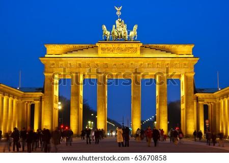 Brandenburg gate at night, Berlin - stock photo