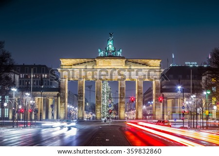 BRANDENBURG GATE, Berlin, Germany in a summer night - stock photo