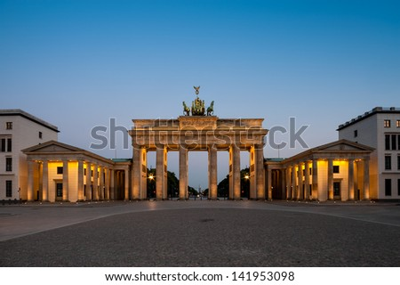 Brandenburg Gate (Brandenburger Tor) in Berlin, Germany at night - stock photo