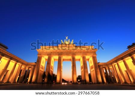Brandenburg Gate (Brandenburger Tor) in Berlin, Germany at twilight - stock photo