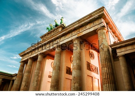 Brandenburg Gate (Brandenburger Tor) in Berlin, Germany on sunset  - stock photo