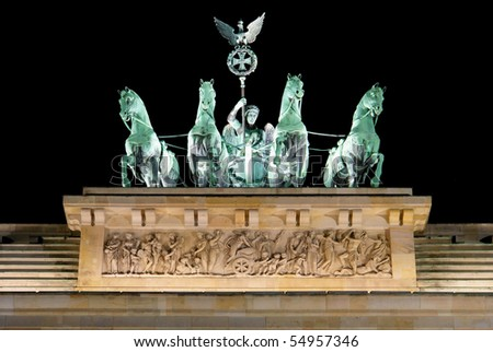 Brandenburg Gate detail at night, a former city gate and one of the main symbols of Berlin, Germany - stock photo