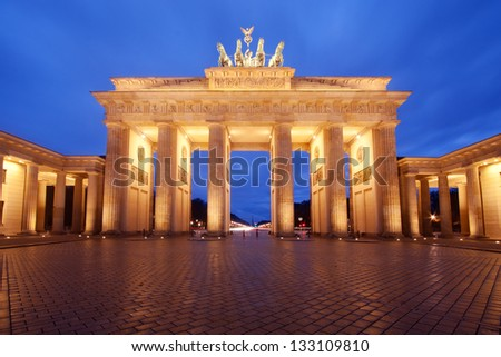 Brandenburg Gate in Berlin, Germany, at dusk