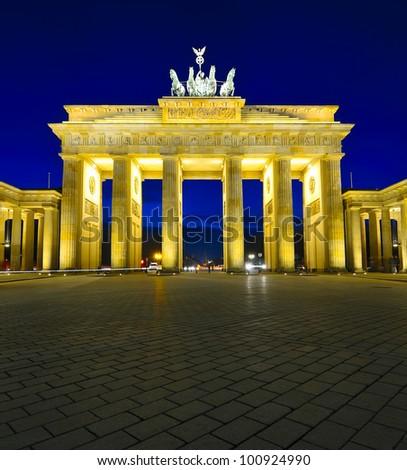 brandenburg gate in berlin, germany, at night - stock photo