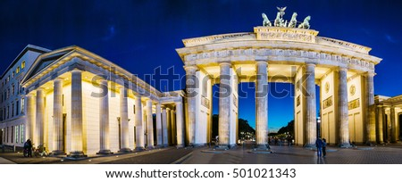 Brandenburg Gate is an 18th-century neoclassical monument in Berlin, and one of best-known landmarks of Germany. It marked the start of road from Berlin to town of Brandenburg an der Havel