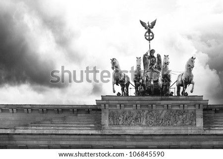 Brandenburg gate of one of the many attractions berlin - stock photo