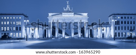 Brandenburg Gate. Toned image of Brandenburg Gate in Berlin, Germany. - stock photo