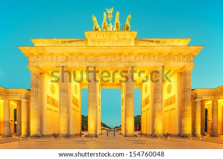 Brandenburger Tor (Brandenburg Gate) , famous landmark in Berlin Germany at night - stock photo