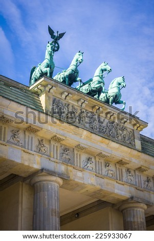 Brandenburger Tor (Brandenburg Gates) in Berlin, Germany close-up
