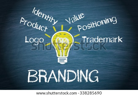 Branding Business Concept - yellow light bulb with text on blue background - stock photo